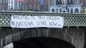 Protest in Dublin, Ireland, in 2010 against cuts as a bail-out: capitalism in crisis
